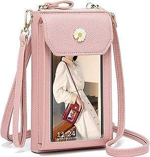Kleine Crossbody Tasche für Frauen - Touchscreen Handy Umhängetasche Brieftasche Handytasche zum Umhängen Leder, Damen Gel...