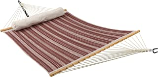 ELC Quilted Fabric Hammock 11 Feet, Outdoor Double Hammocks with Bamboo Spreader Bars, a Pillow and Chains and Steel Hooks, Red Stripes