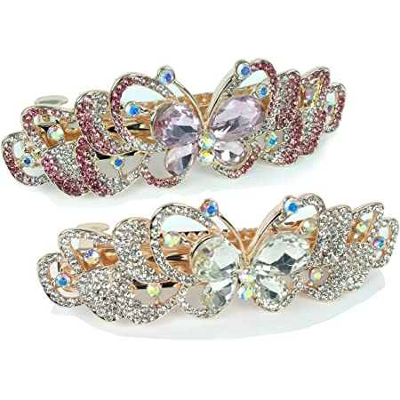 Set of 2 Hair Clips  Mother Of Pearl /& Rhinestones