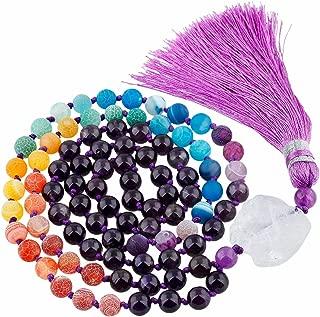 TUMBEELLUWA Prayer Beads Stone Necklace for Women Gemstones Meditation Reiki Balancing