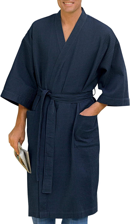 Harbor Bay by DXL Big and Tall Waffle-Knit Kimono Robe: Clothing