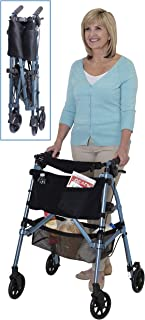 Stander Ez Fold-N-Go Rollator Cobalt Blue Lightweight Portable Folding Four-Wheeled Rolling Walker for Seniors, Compact Travel Seat, 6