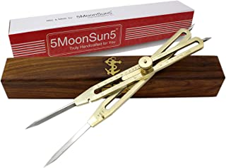 """5MoonSun5's Artist Proportional Scale Divider Drawing Tool Professional 9"""" Long Solid Brass with Heavy Duty Steel Point Executive Promotional drafting gift with Wooden box great tool for art projector"""