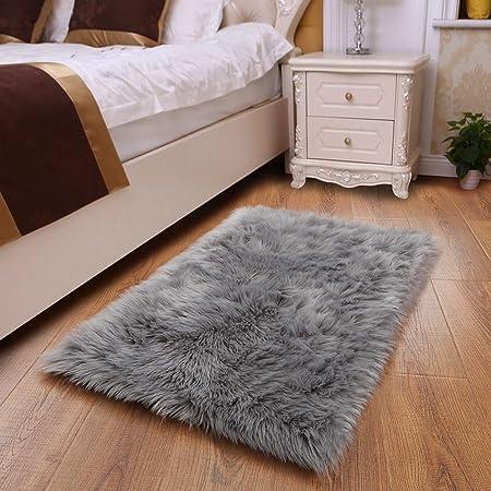 YOH Sheepskin Rug Fuzzy Fluffy Rectangle Grey Area Rugs 2' x 3' Kids Carpet for Living Room Bedroom Girls Rooms Kids Room Floor Sofa Home Decor