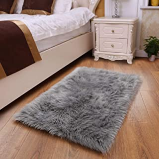 YOH Sheepskin Rug Fuzzy Fluffy Rectangle Grey Area Rugs 2' x 3' Kids Carpet for..