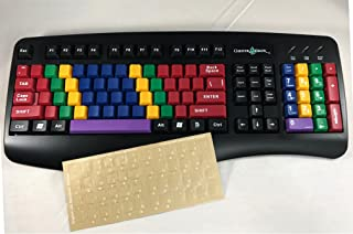 Bundle: LessonBoard Pro USB Wired Blank Keys Computer Keyboard and White US English Characters Transparent Keyboard Stickers Reverse Printed on Adhesive (3M) Side for Training Typing Keyboarding