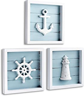"TideAndTales Nautical Wall Decor Set of 3 (7""x7"") Rustic Beach Decor with 3D.."