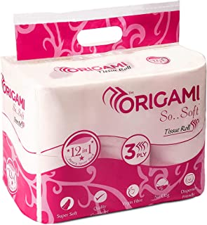 Origami So.Soft - 3 Ply Toilet Paper   Tissue Roll - 12 in 1-12 Rolls - 160 pulls per roll - Total 1920 pulls