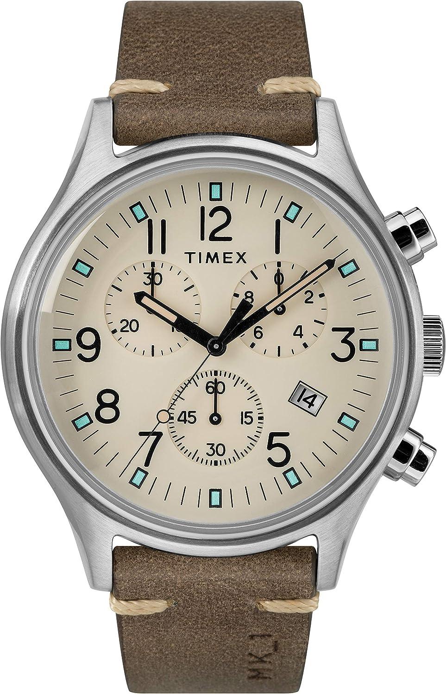 Timex MK1 Chrono - Reloj de Pulsera para Hombre con cronógrafo y Correa de Piel
