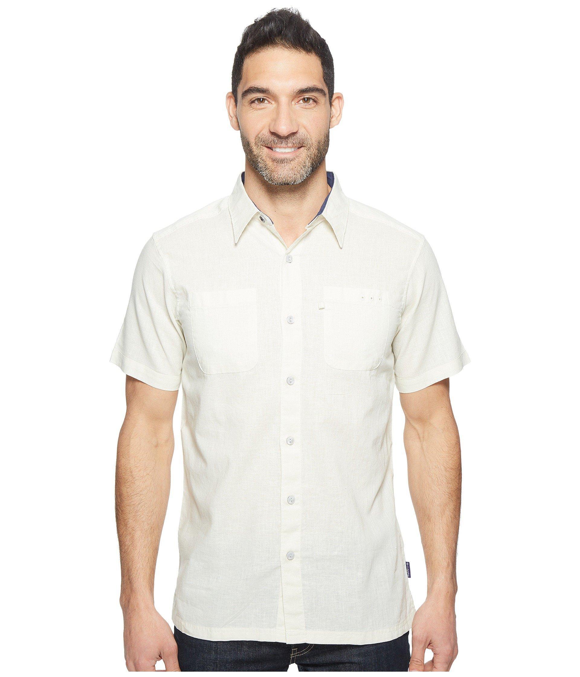 568d226e69d Columbia Harborside Slim Fit Linen Camp Shirt In Stone Collegiate Navy