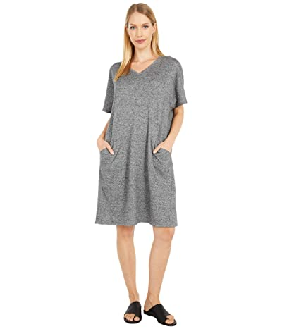 Eileen Fisher Organic Cotton Hemp Melange V-Neck Knee Length Dress (Ash) Women