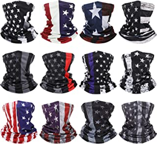 12 Pieces American Flag Face Cover Neck Gaiters US Flag Face Bandana Sun Wind Protection Balaclava Scarf for Summer and Wi...