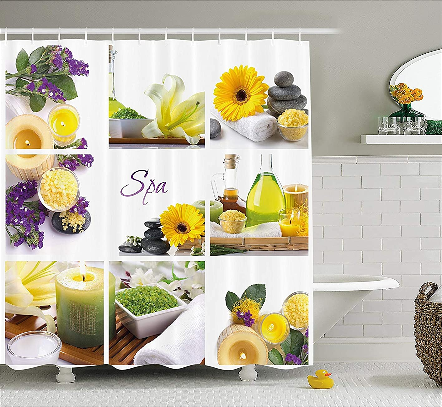 SPXUBZ Spa Yellow Happy Peaceful Spa Day Flowers Candles Herbal Oils Yellow Purple White Shower Curtain Waterproof Bathroom Decor Polyester Fabric Curtain Sets Hooks hslxtmpuvnw258