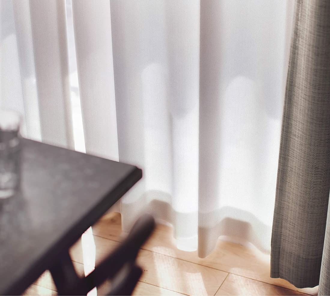 大使館近傍ステップスミノエ(Suminoe) レースカーテン ナチュラルホワイト 幅290cm ×丈103cm エール 洗える オーダーレース G1031