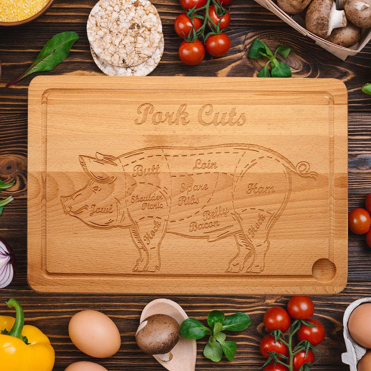 Spruchreif PREMIUM QUALIT/ÄT 100/% EMOTIONAL Tabla de cortar XXL de madera con grabado /· Tabla de cocina /· Tabla de madera con grabado /· Regalo para hombres barbacoa /· Beef Cuts /· Cortes de Pork Cuts