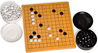 Yellow Mountain Imports Go Game Set with Reversible (13x13 | 9x9) Shin Kaya Go Board (0.8-Inch Thick) and Double Convex Stones