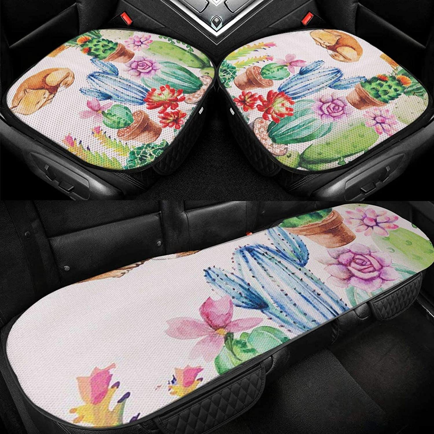 Car Seat Cushion Covers Cute Bott Cat and Max 80% It is very popular OFF Watercolor Cactus