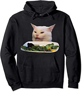 Woman yelling at table dinner cat meme Pullover Hoodie