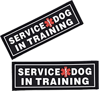 Dogline Service Dog in Training Patches for Harnesses and Vests Removable 3D Rubber Patches with Hook Backing for Small Me...