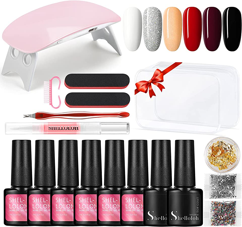 Gel Nail Polish Kit with U V Light MiNi LED Lamp Starter Kit,6 Colors Soak Off Gel Nail Polish Set, Base and Top Coat, Nail Art Decorations Manicure Gel Nail Kit for Beginner Gifts for Women