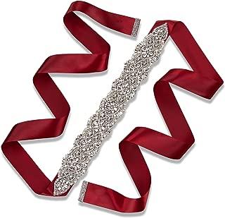 burgundy bridal sash