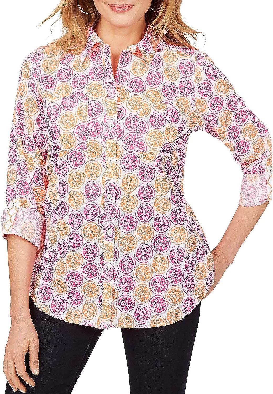 Foxcroft Womens Blouse Plus Button Down Fruit Print Shirt Pink 18W