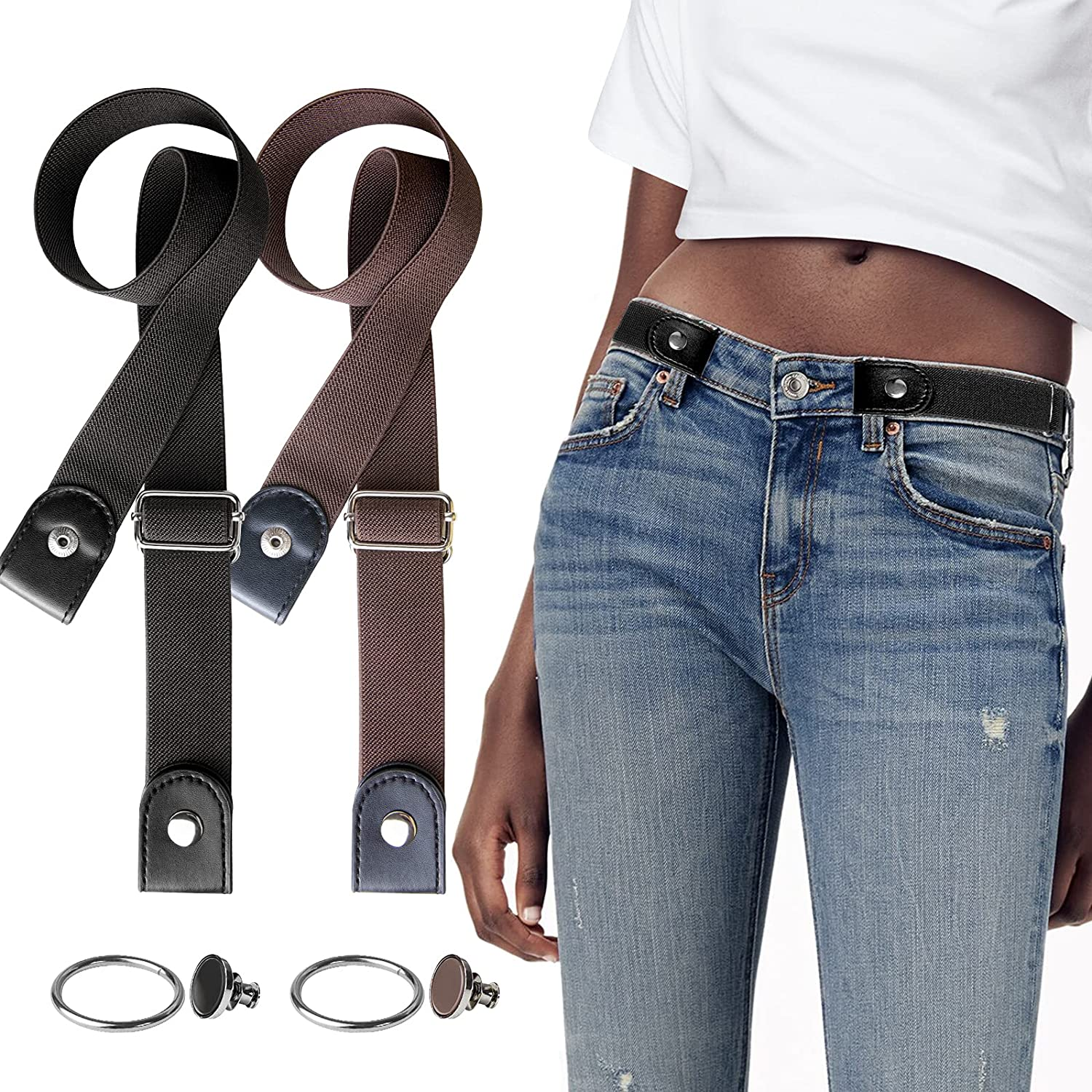 YUNDUOJIA 6 Sets No Buckle Elastic for Stretch 70% OFF Outlet Direct store Comfortable Belts