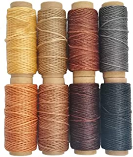 264 Yards 150D Leather Sewing Waxed Thread Cord for Leather Craft DIY, 1mm Diameter,8 Colors Thread Cord,Each of 33 Yards