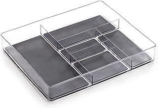BINO 5 Section Plastic Organizer - Clear   5-Compartments   Multi-Purpose Storage   Soft-Grip Lining and Non-Slip Rubber F...