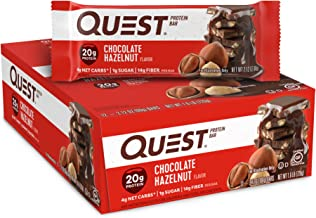 Quest Nutrition Chocolate Hazelnut Protein Bar, High Protein, Low Carb, Gluten Free, 12 Count