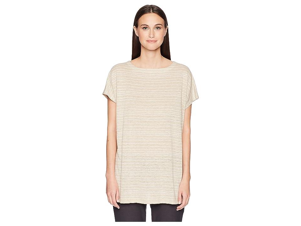 Eileen Fisher Organic Linen Striped Top (Natural) Women