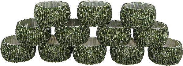 Shalinindia Perlen Serviettenringe Set 12 Ringe Grüne Serviettenringe Set Durchmesser 1 5 Zoll Küche Haushalt