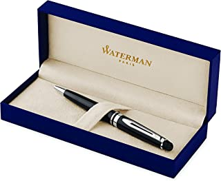 Waterman Expert Ballpoint Pen, Gloss Black with Chrome Trim, Medium Point with Blue Ink Cartridge, Gift Box
