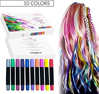 Hair Chalk for Girls With Dark Hair, 10 Colorful Temporary Hair Chalk for Kids, Ideal Birthday Gift for Teen Girls