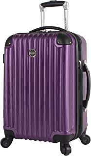 Lucas Outlander 20 Inch Carry On Luggage Collection -Expandable Scratch Resistant (ABS + PC) Hardside Suitcase- Lightweight Durable Checked Bag With 4-Rolling Spinner Wheels (20in, Purple)
