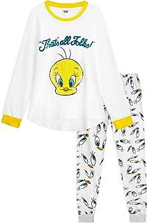 Looney Tunes Pijamas Mujer, Ropa Mujer 100% Algodon, Pijama Mujer Invierno 2 Piezas de Manga Larga Personaje Piolin, Regal...