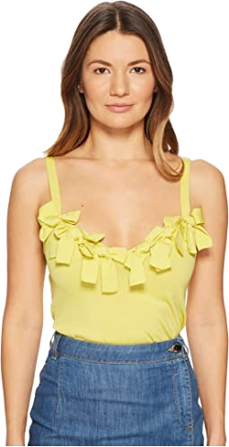 Boutique Moschino - Stretch Viscose Sleeveless Blouse with Bow Applications
