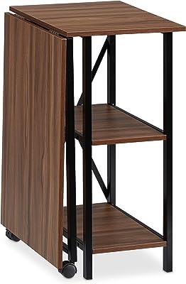 Relaxdays Bureau Pliable,Table Peu encombrante, 2 étagères, pour Travail à la Maison,Chambre d'ado, Choix de Couleurs, Panneau de Particules, Fer, Holz/Schwarz, 76 x 107 x 55 cm