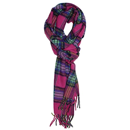 Ted and Jack - Ted's Classic Cashmere Feel Checkered or Plaid Scarf (Pink Flannel)