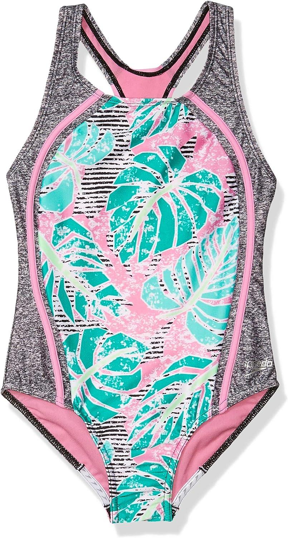 爆買い新作 Speedo Girls' Swimsuit One 驚きの価格が実現 Piece Strap Racer Printed Back Thick