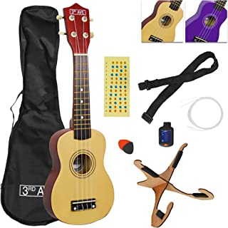 3rd Avenue Soprano Ukulele Pack including Bag, Strap, Picks, Tuner, Stand, Fretboard Stickers and Strings – Natural