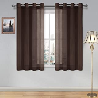 DWCN Brown Sheer Curtains Linen Look Semi Transparent Voile Grommet Curtains for Living Room Bedroom Drapes 52 x 54 inch Length, Set of 2 Panels