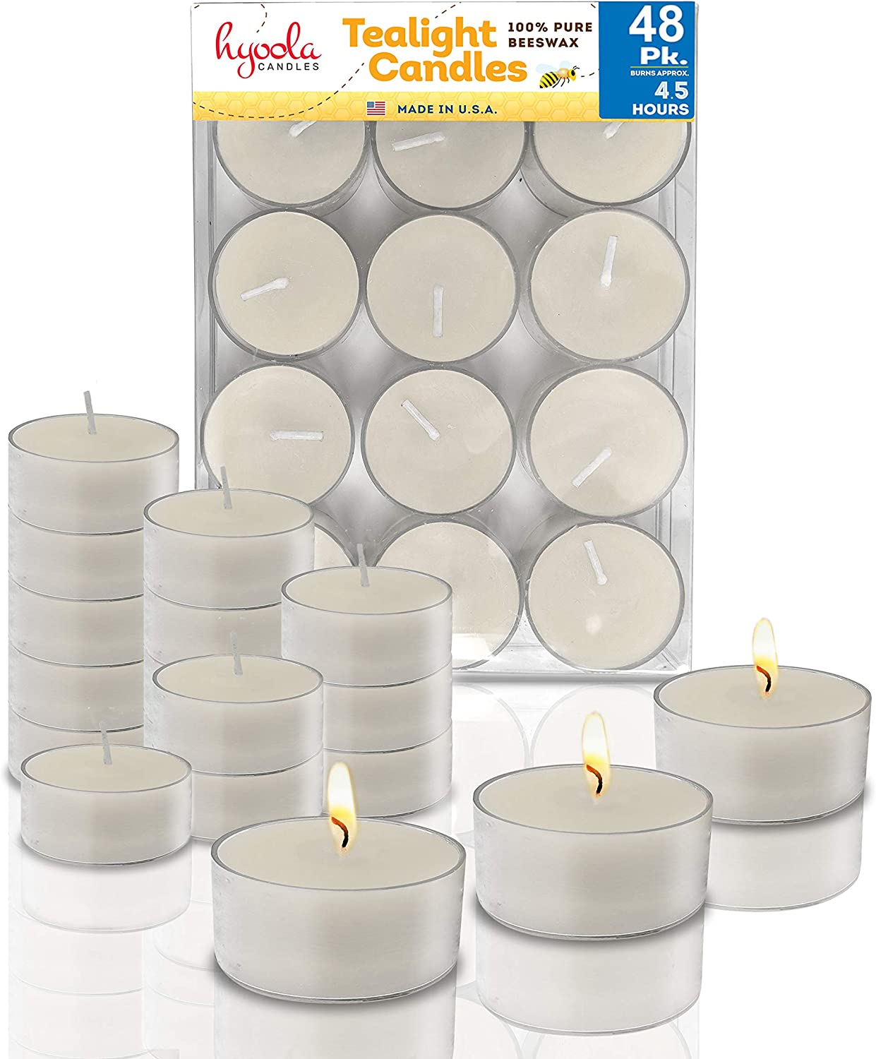 Hyoola White Beeswax Tea Light Candles – 48 Pack – Decorative Unscented Natural Tealight Candles for Home, Centerpieces – 4 Hour Burn Time, Clear Cup