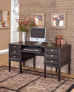 Ashley Furniture Signature Design - Carlyle Home Office Desk - 3 Drawers and 1 File Drawer - Contemporary - Almost Black