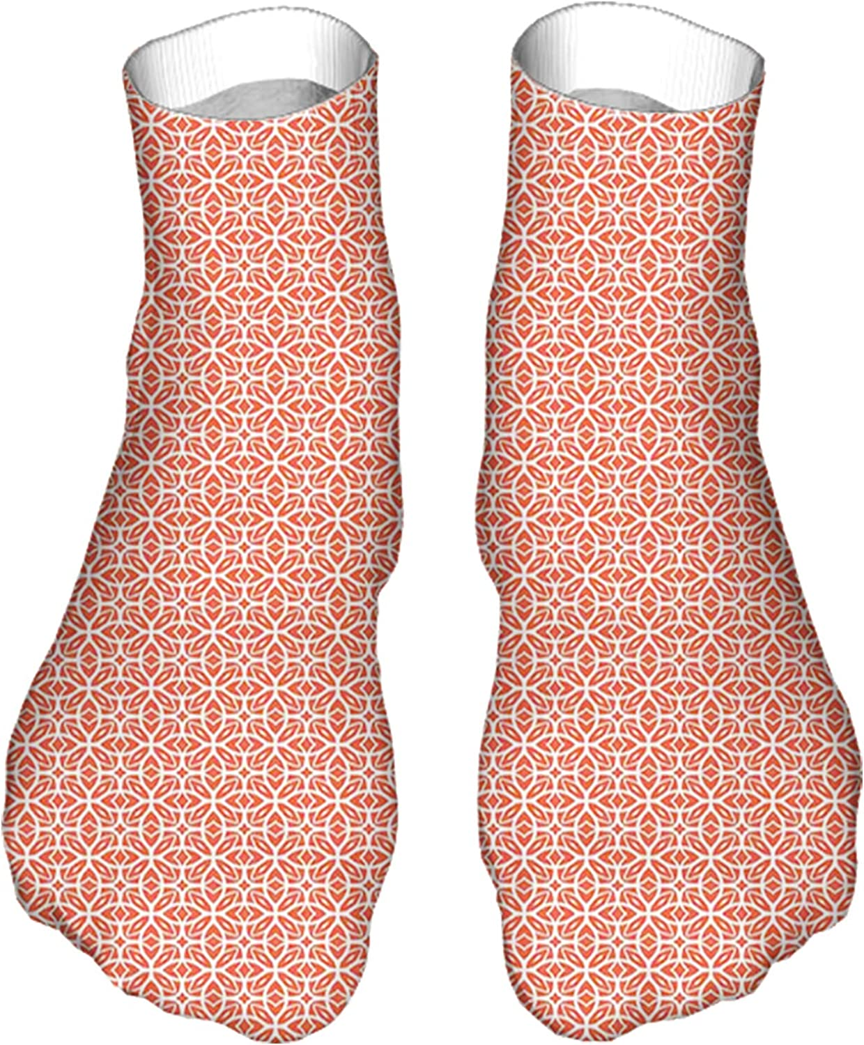 Men's and Women's Fun Socks Printed Cool Novelty Funny Socks,Lace Inspired Endless Design of Four Leaf Flower Abstract