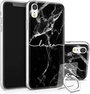 TULLUN Custom iPhone Phone Case & Clear Ring Holder Personalized Glossy Black Marble White Initials Name Text Flexible Soft Gel Bumper - Black Marble Name V1 - iPhone 6 Plus / 6s Plus