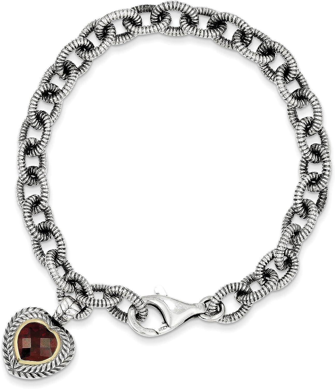 14k gold and Sterling Silver Garnet Heart Link Bracelet