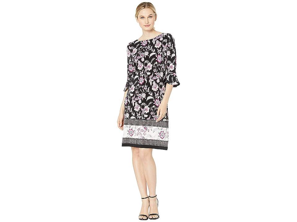 Nine West Printed Ity 3/4 Ruffle Sleeve Dress (Black/Pink Multi) Women