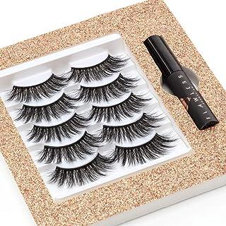 LASHBABE 3D False Eyelashes - 5 Pairs Reusable High Volume Faux Mink Eyelashes | Eyelashes with Glue | Eyelash Pack | Wisp...