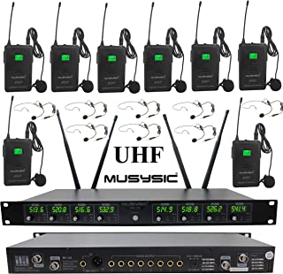MUSYSIC MU-U8-LL Professional 8-Channels UHF Lapel Lavalier & Headset Wireless Microphone System (FCC Compliance)